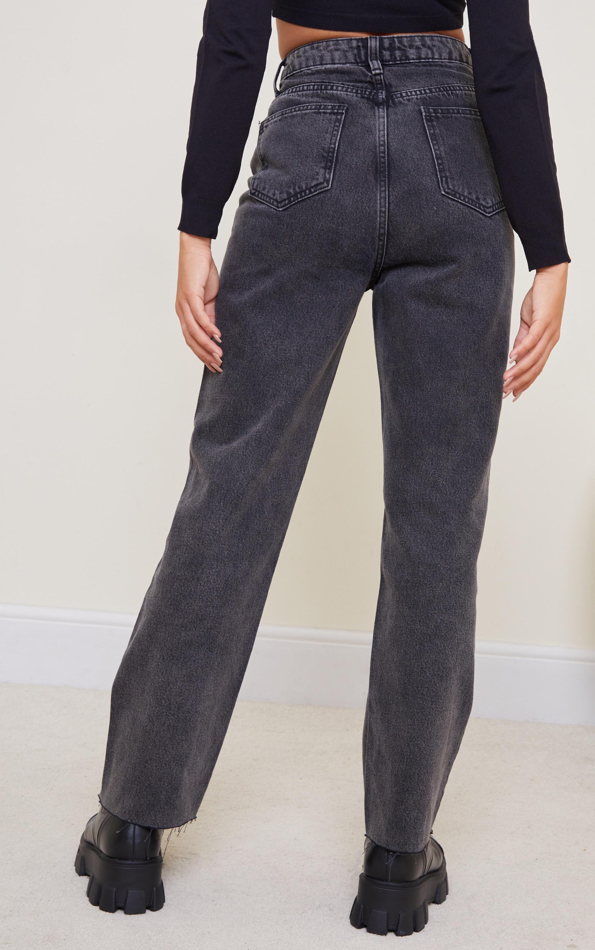 Black Acid Wash High Waisted Straight Leg Jeans 3