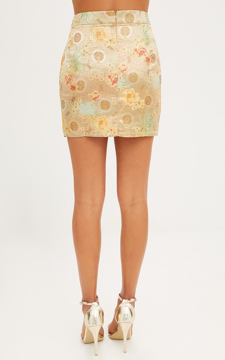 Gold Oriental Jacquard Split Mini Skirt  4