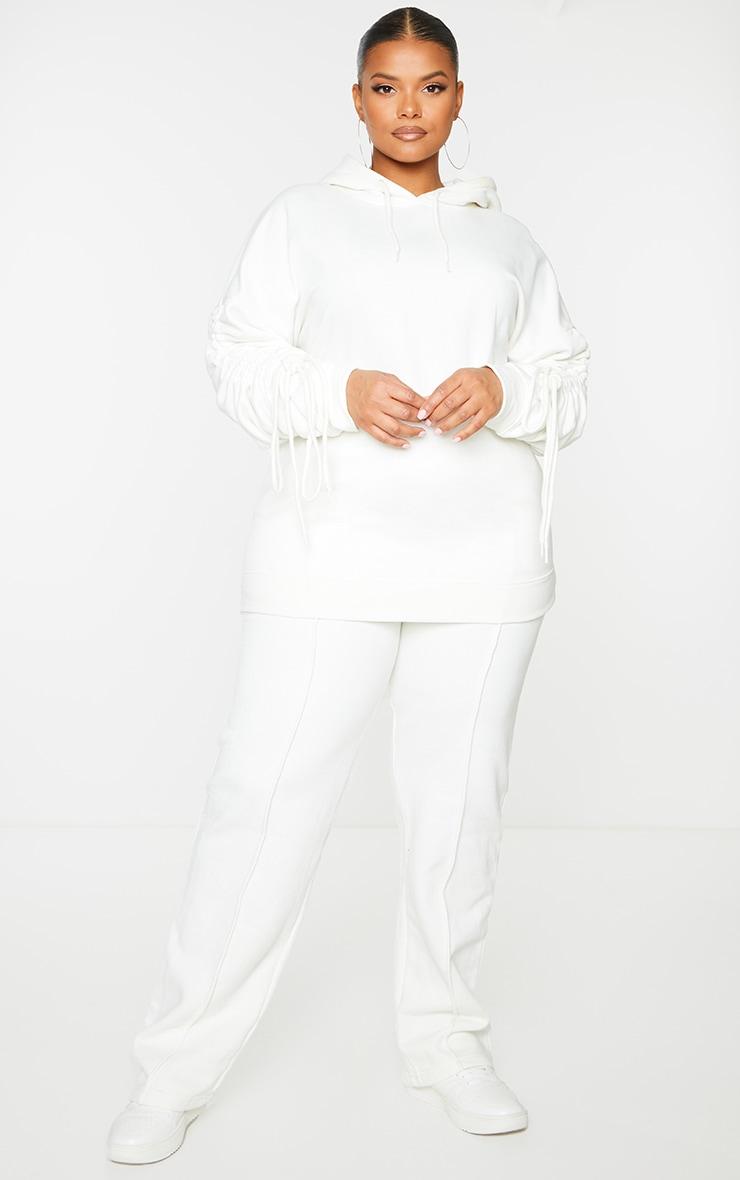 Plus Cream Ruched Sleeve Hoodie 3