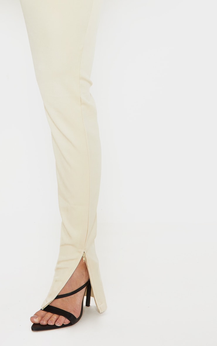 Beige Woven High Waisted Split Hem Skinny Trouser 5