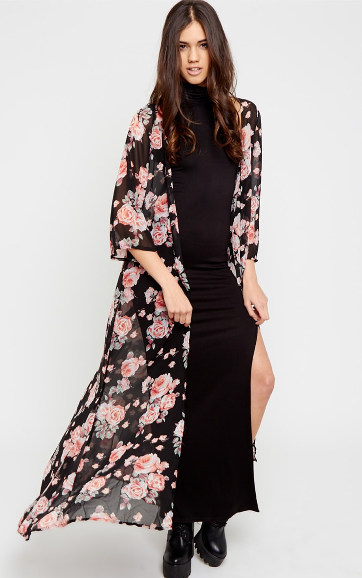 Matilda Black Rose Print Kimono 1