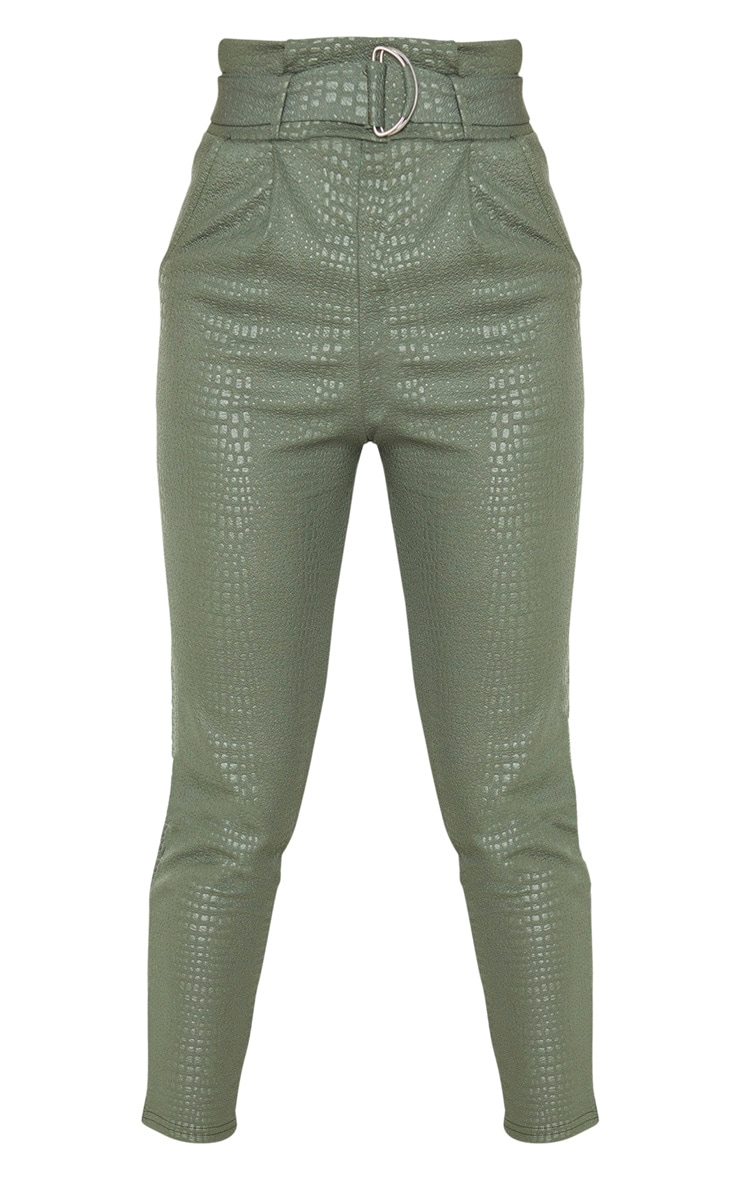 Tall Khaki Croc Print D Ring Belted Skinny Trousers 5