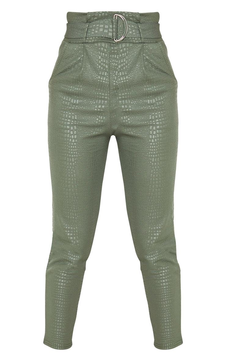 Tall Khaki Croc Print D Ring Belted Skinny Pants 5