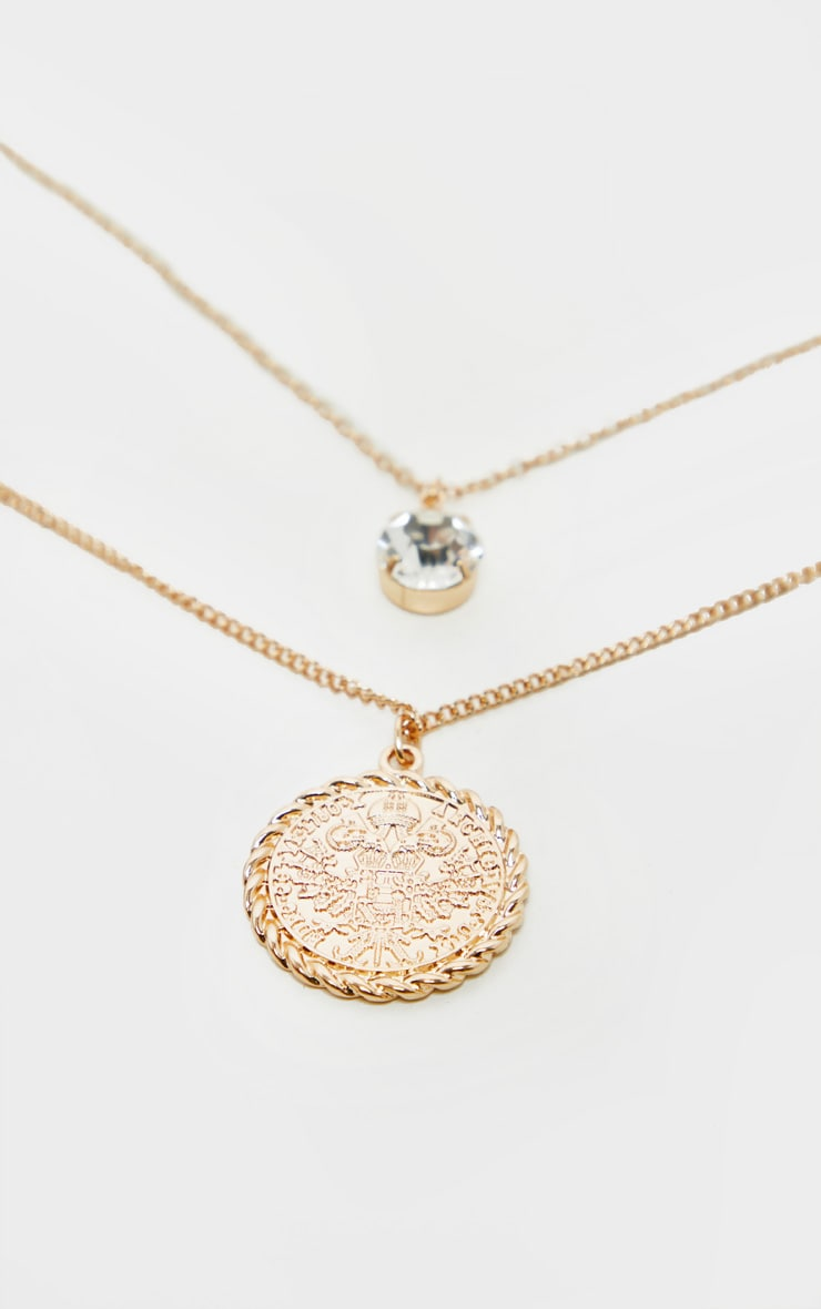 Gold Double Layer Crystal And Penny Pendant     4
