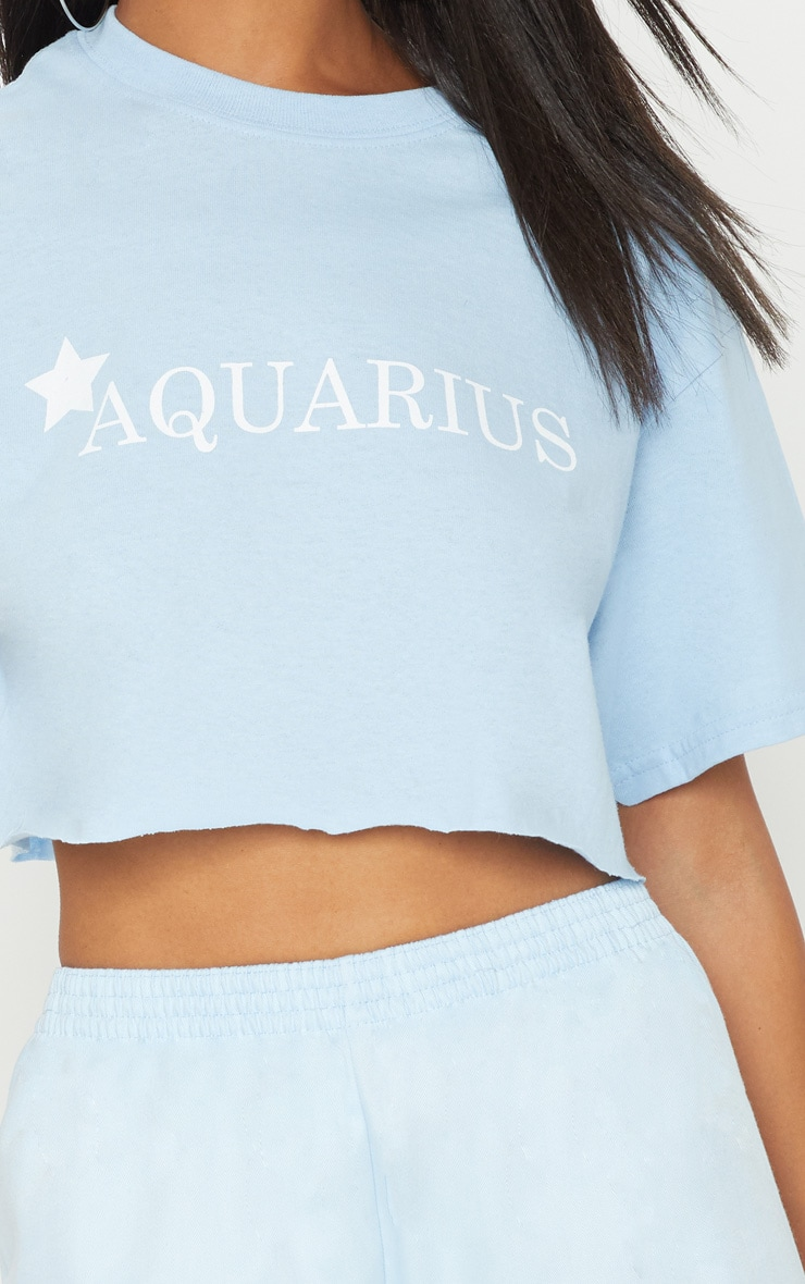 Baby Blue Star Sign Slogan Crop T Shirt  5
