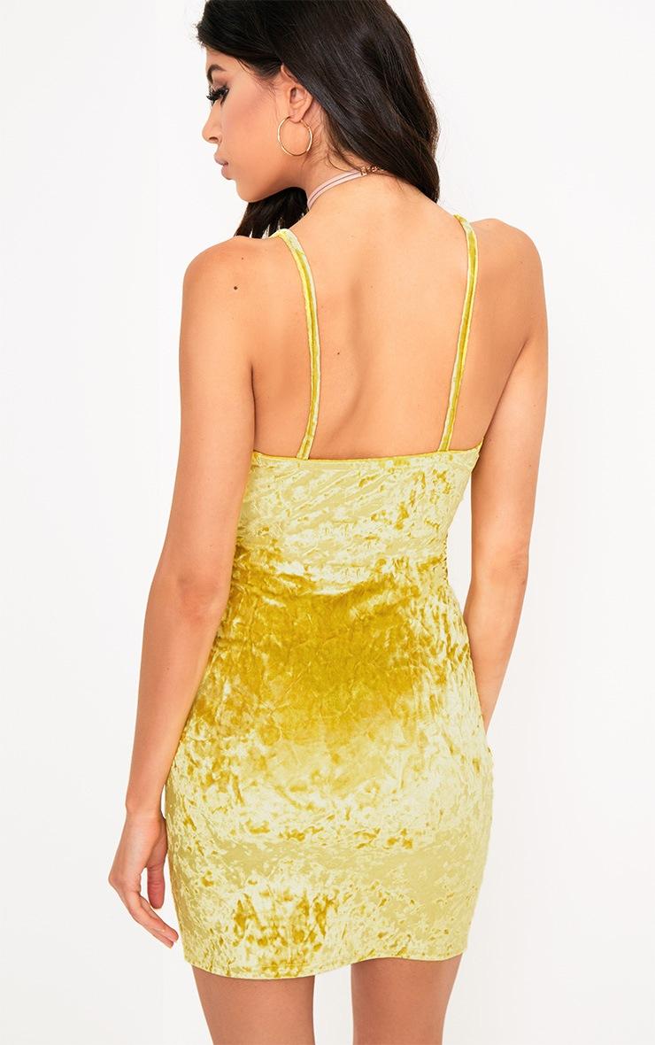 Yellow Velvet Applique Bodycon Dress  2