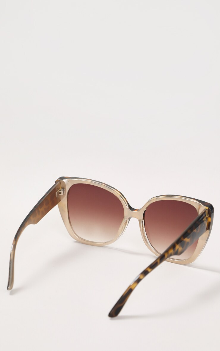 Brown Half Tort Oversized Cat Eye Sunglasses 3