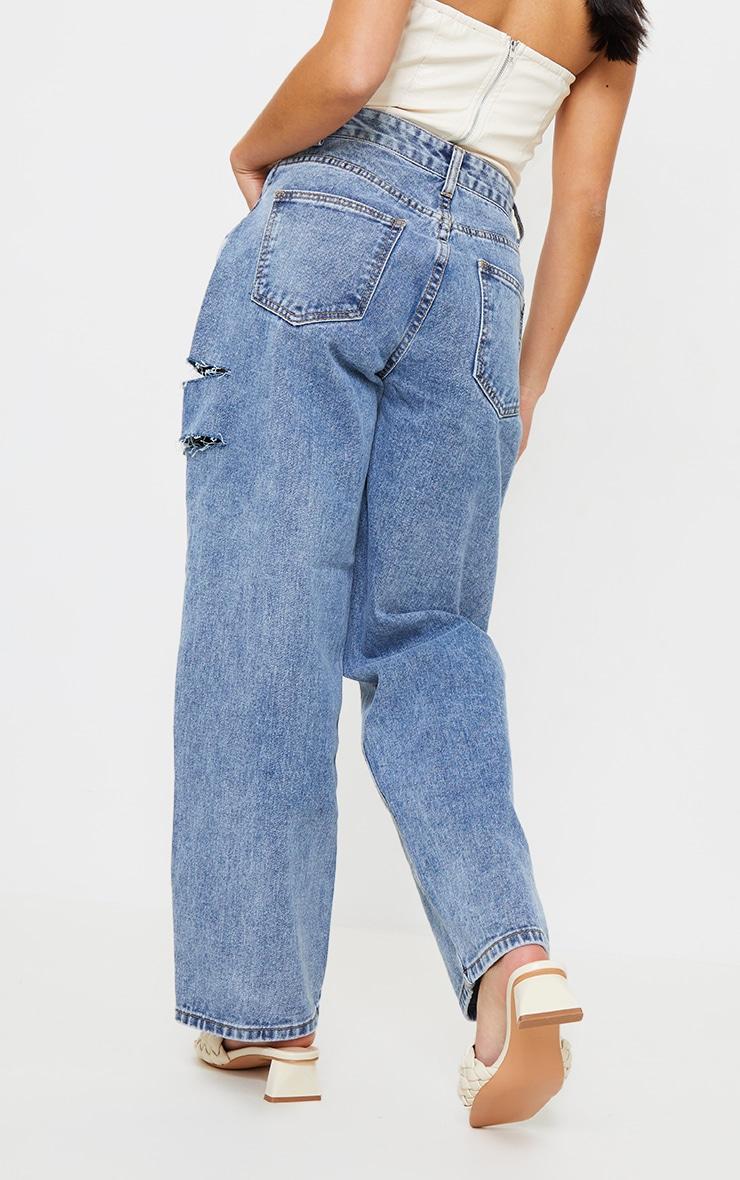 Petite Vintage Wash Baggy Low Rise Asymmetric Waistband Thigh Split Boyfriend Jeans 3
