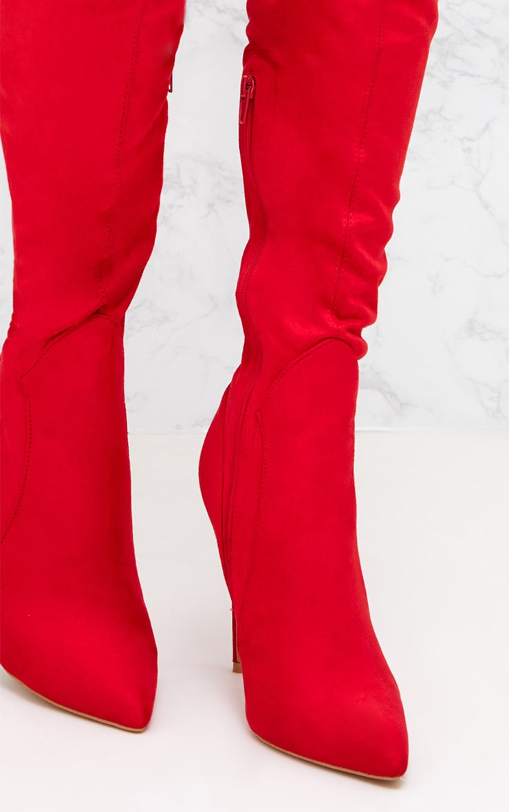 Red Faux Suede Thigh High Heeled Boots  5