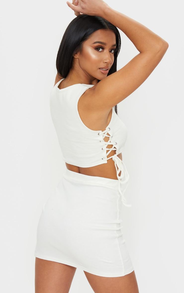 Petite Cream Cotton Jersey Lace Up Side Crop Top 2