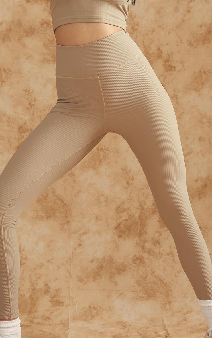 Olive Sculpt Ribbed Textured Gym Leggings 4