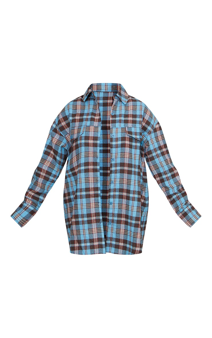Petite Blue Checked Oversized Shirt 5