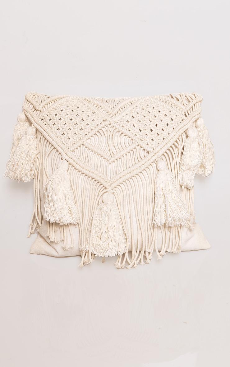 Cream Macrame Tassel Filled Cushion 3