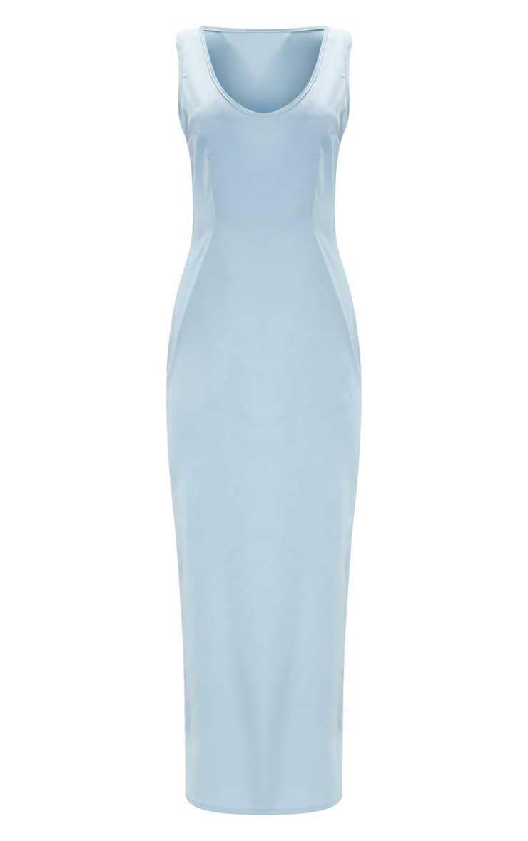 Baby Blue Satin Fitted Maxi Dress 3