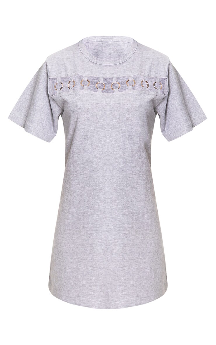 Grey Jersey Ring Chest Detail T Shirt Dress  3