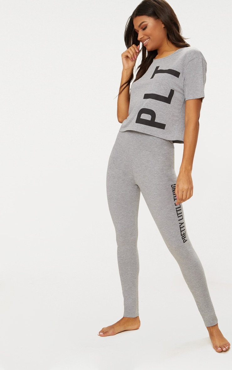 PRETTYLITTLETHING Grey Legging Pyjama Set 1