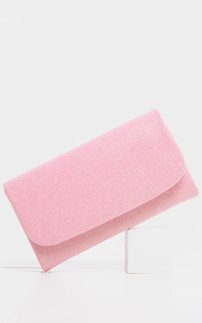 Pink Fabric Glitter Medium Clutch Bag