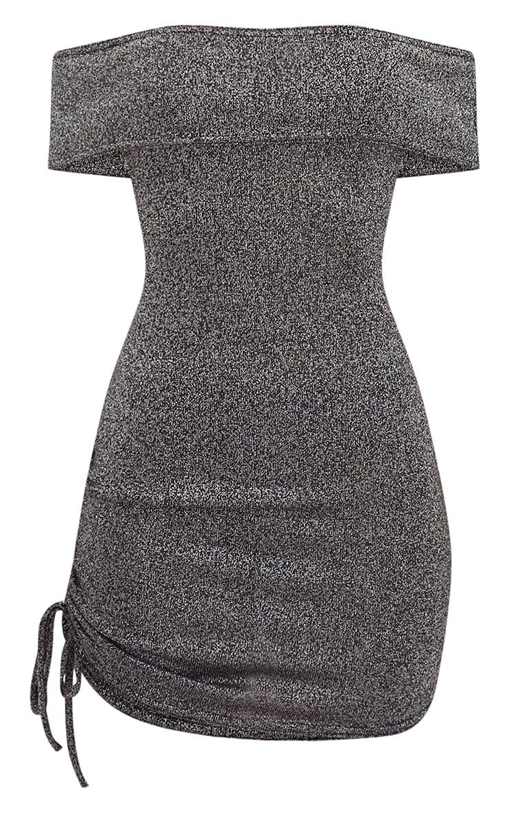 Silver Glitter Ruched Side Bardot Bodycon Dress 3