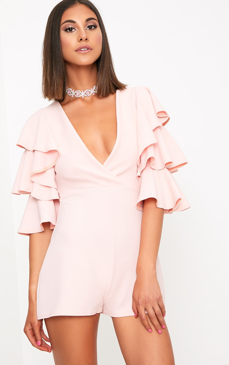 Nude Ruffle Sleeve Playsuit 1