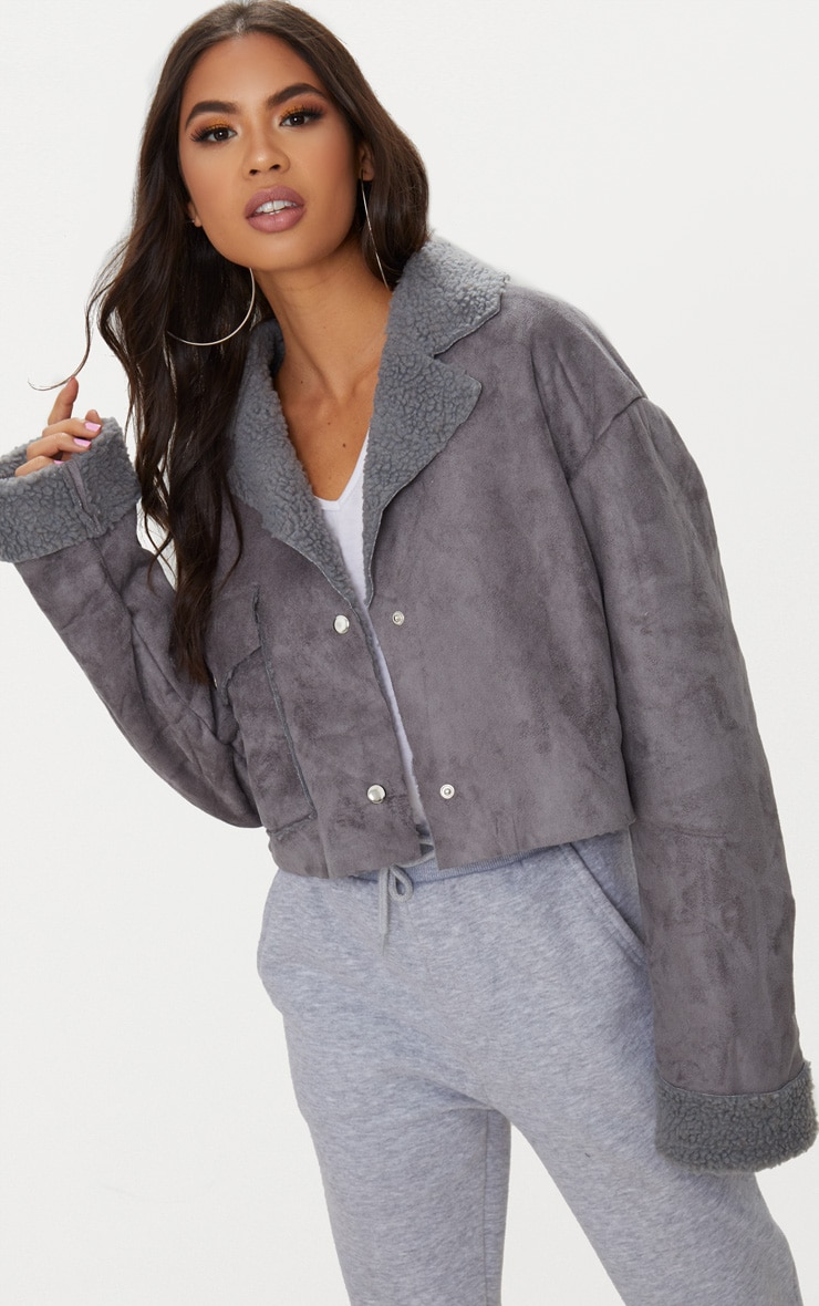 Grey Faux Suede Pocket Detail Cropped Jacket 1