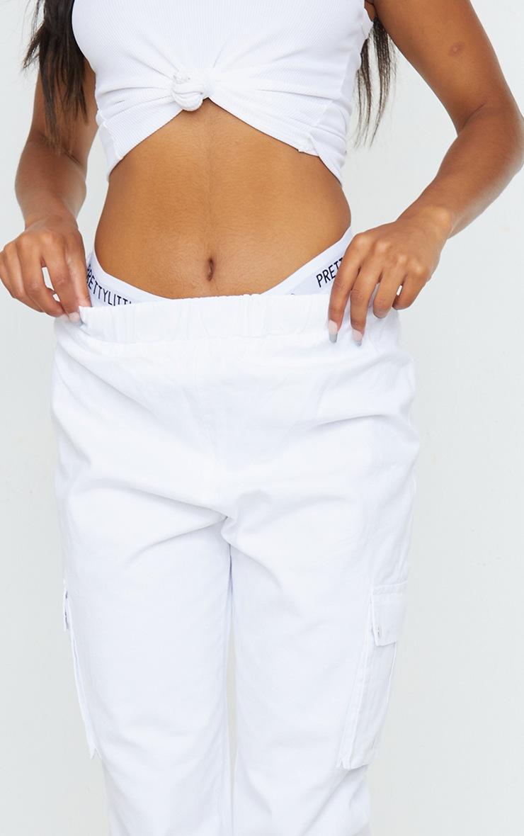 White Pocket Detail Cargo Trousers 4
