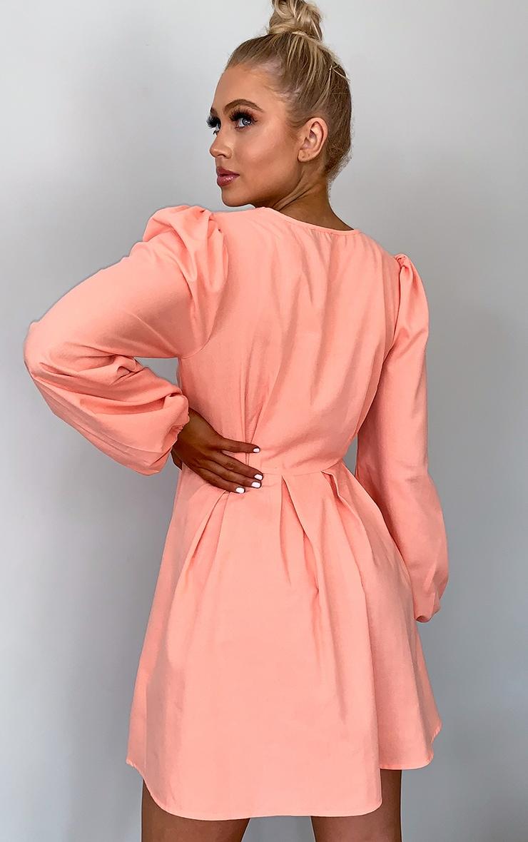 Peach Linen Mix Pleated Detail Skater Dress 2