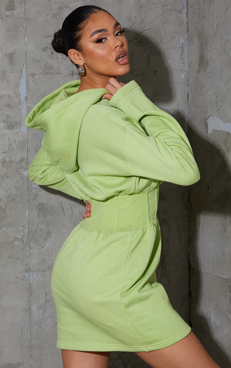 Washed Lime Ribbed Binding Waist Detail Hooded Jumper Dress 2