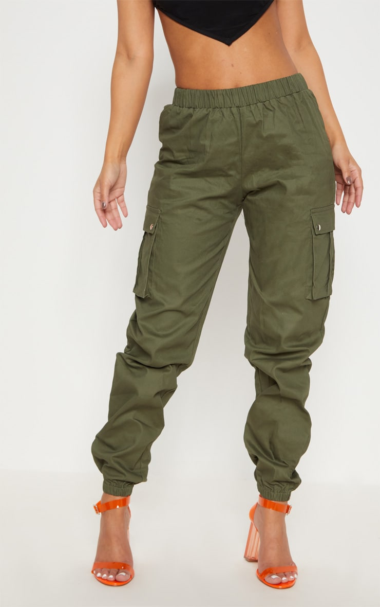 Petite Khaki Pocket Detail Cargo Trousers 2