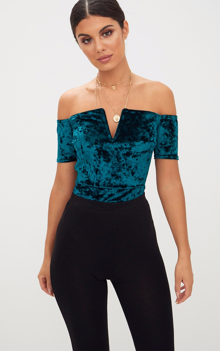 Teal Crushed Velvet V Plunge Bardot Thong Bodysuit  1