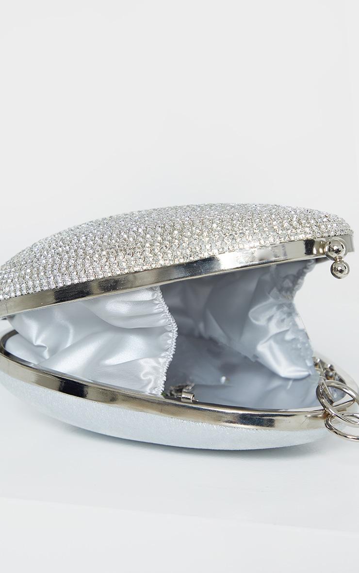 Silver Diamante Oval Bag 4