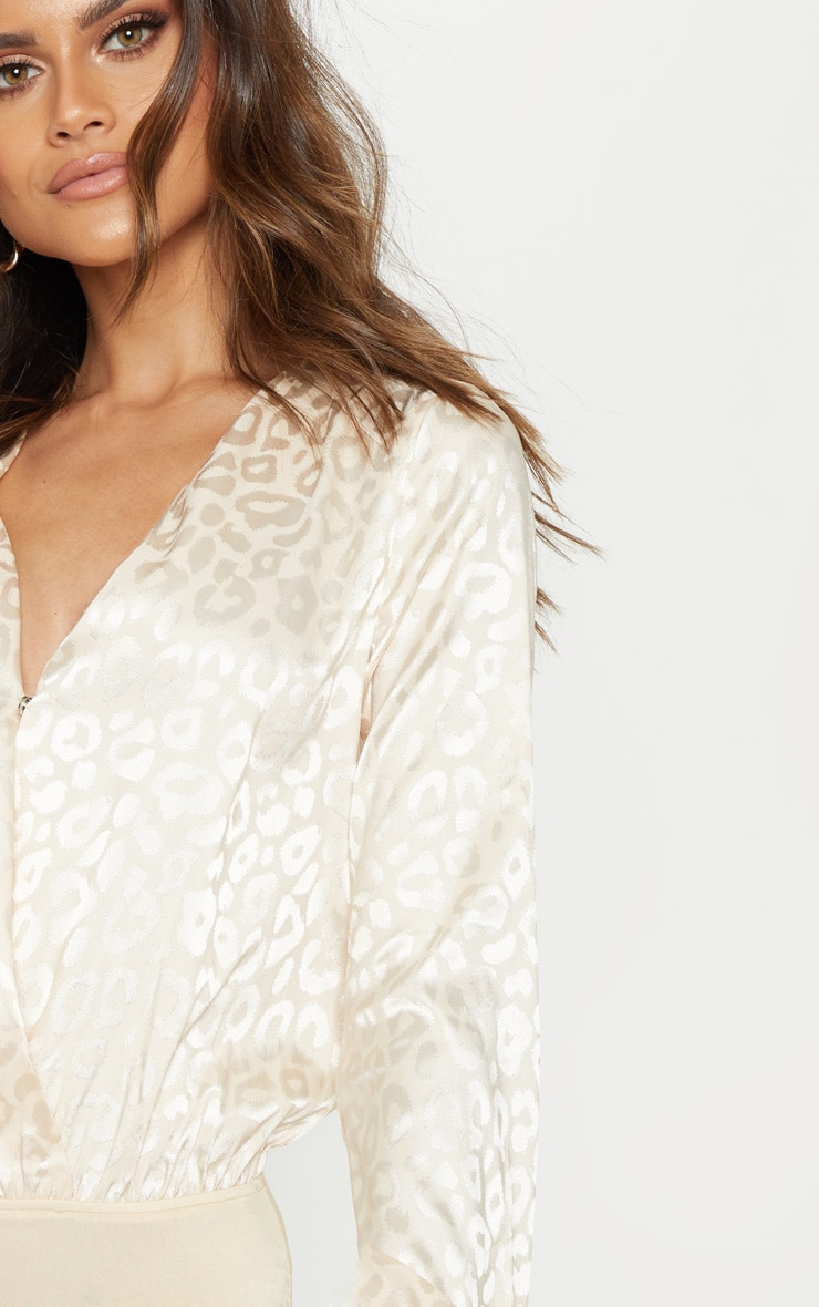 Champagne Printed Satin Plunge Long Sleeve Bodysuit 6