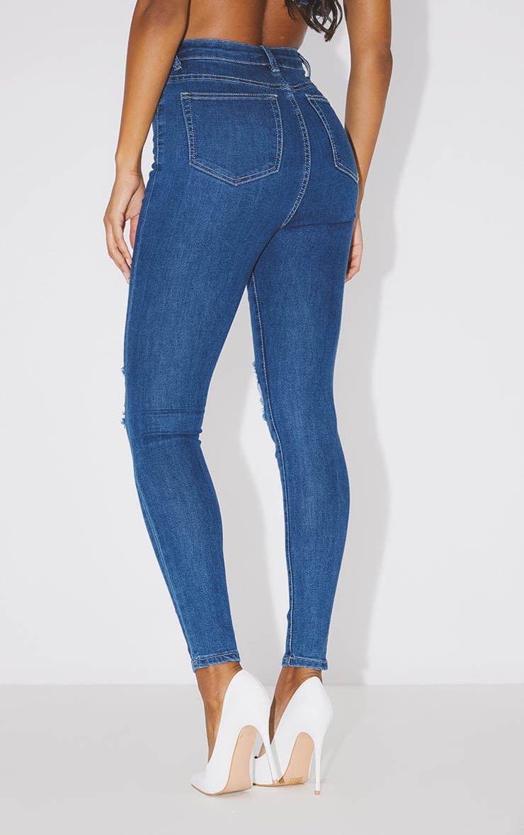 PRETTYLITTLETHING Mid Blue Knee Rip 5 Pocket Skinny Jean 4