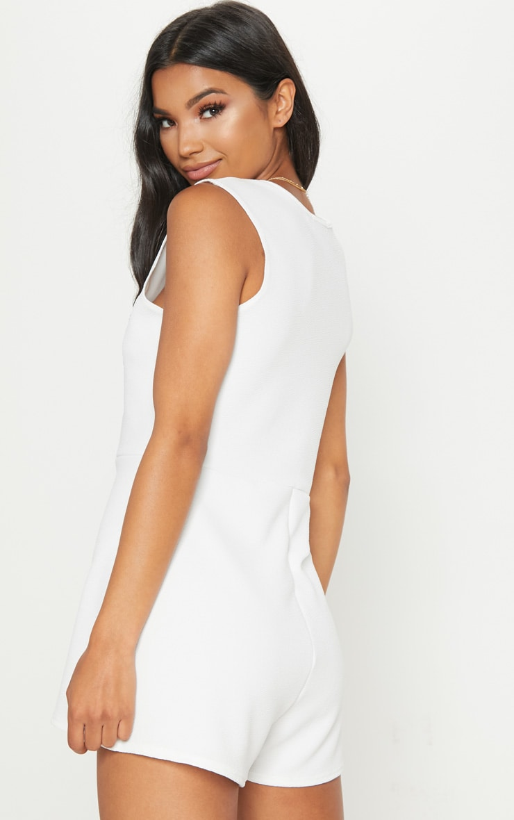 White Button Detail Slouchy Playsuit 2