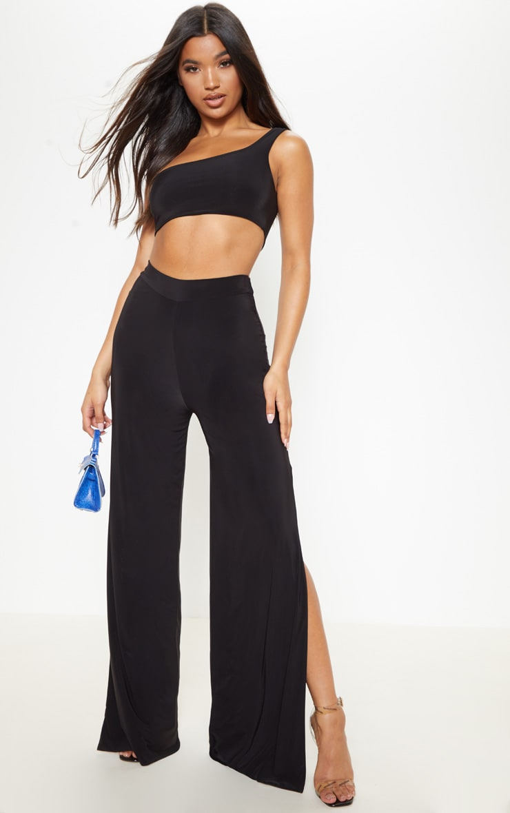 Black Slinky One Shoulder Crop Top 4