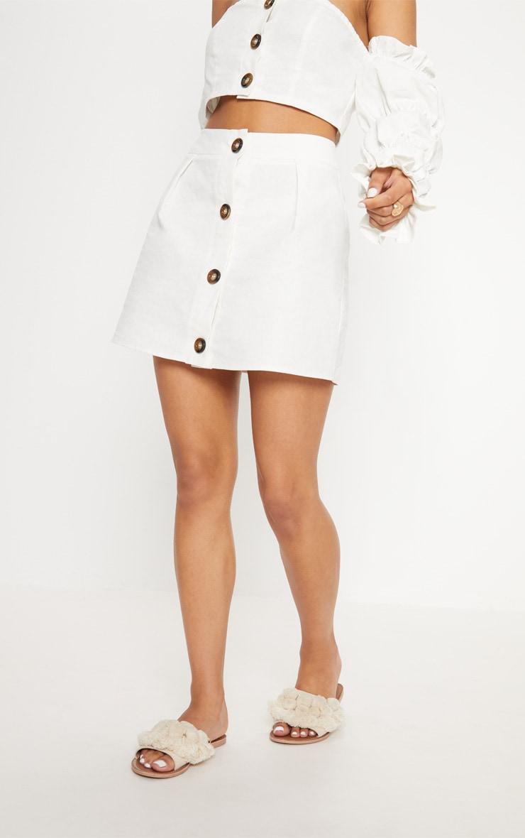 White Cotton Button Detail Mini Skirt 2