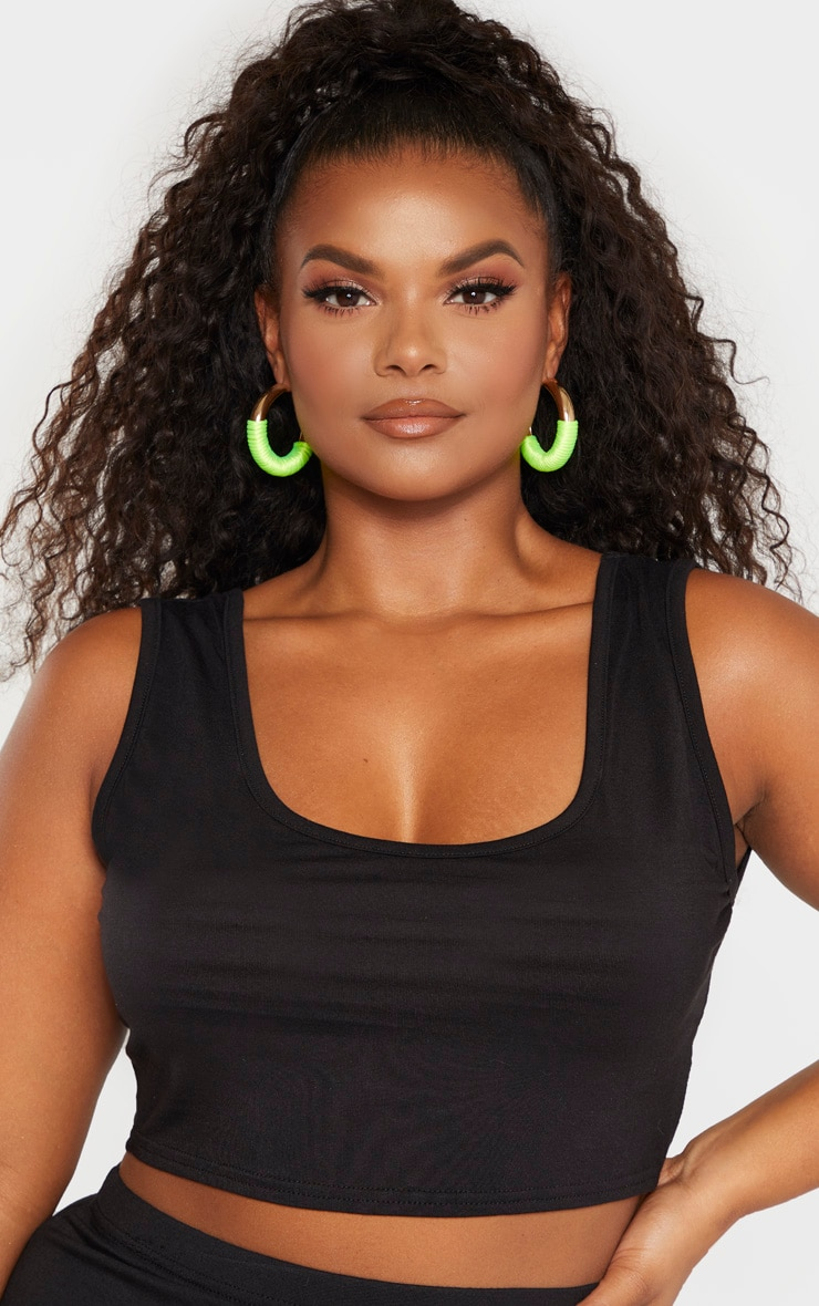 Plus Black Jersey Scoop Neck Crop Top  5
