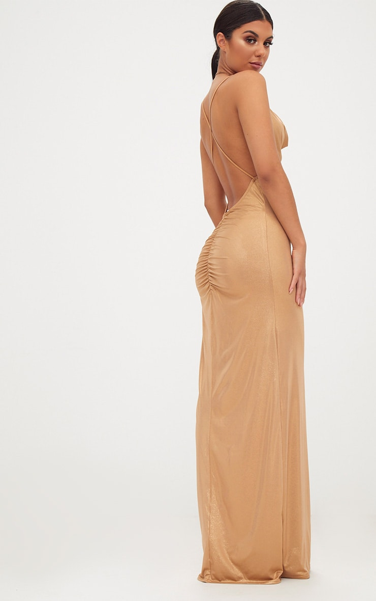 Gold Metallic Ruched Back Cowl Neck Maxi Dress 2