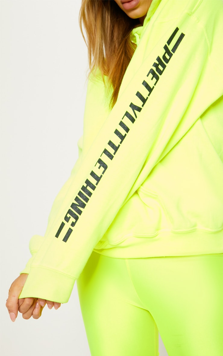 PRETTYLITTLETHING Neon Yellow Logo Stripe Oversized Hoodie 6