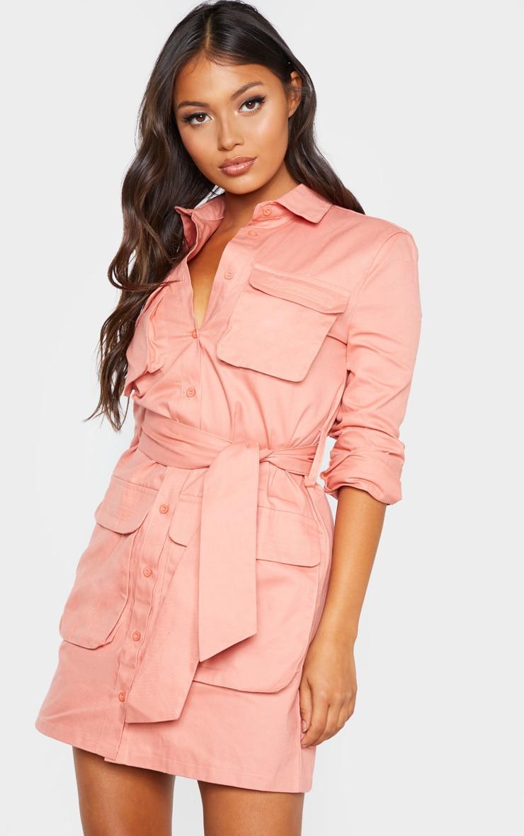 Petite - Robe chemise rose cendré nouée à la taille style utilitaire 1