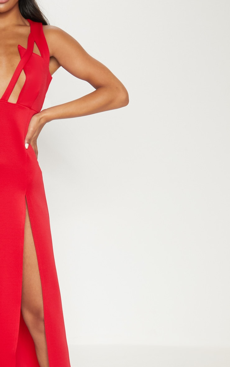 Red Pointy Bust Detail Extreme Split Maxi Dress 5