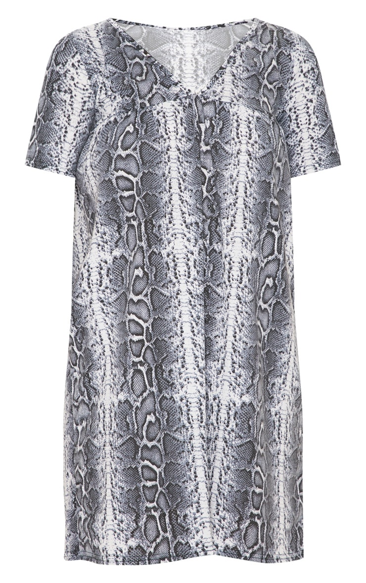 White Snake Print Short Sleeve Smock Dress 3