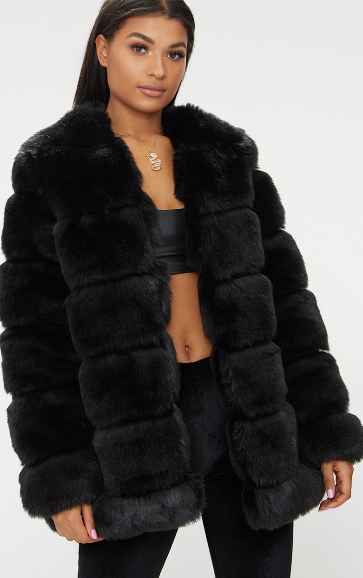Black Faux Fur Bubble Coat
