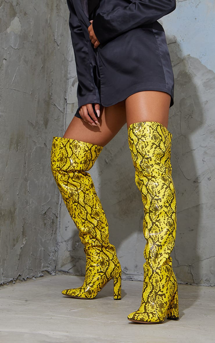 Yellow PU Snake Pointed Flat Block Heel Over The Knee Boots 1