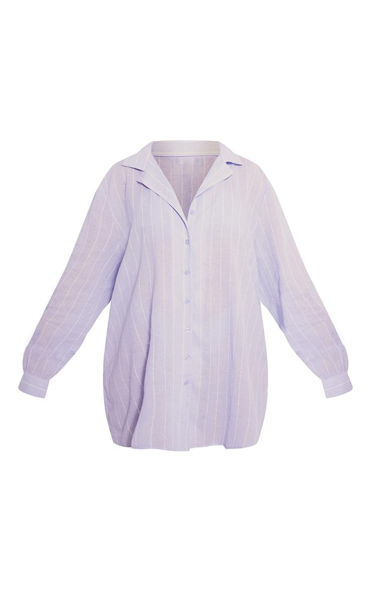Blue Wide Stripe Cotton Oversized Nightshirt With Scrunchie 6