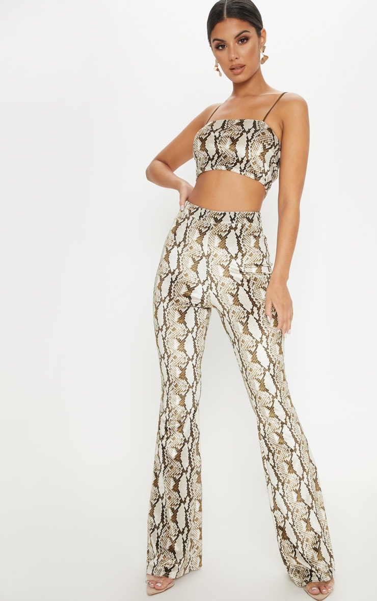 Cream Velvet Snake Flared Trouser 1
