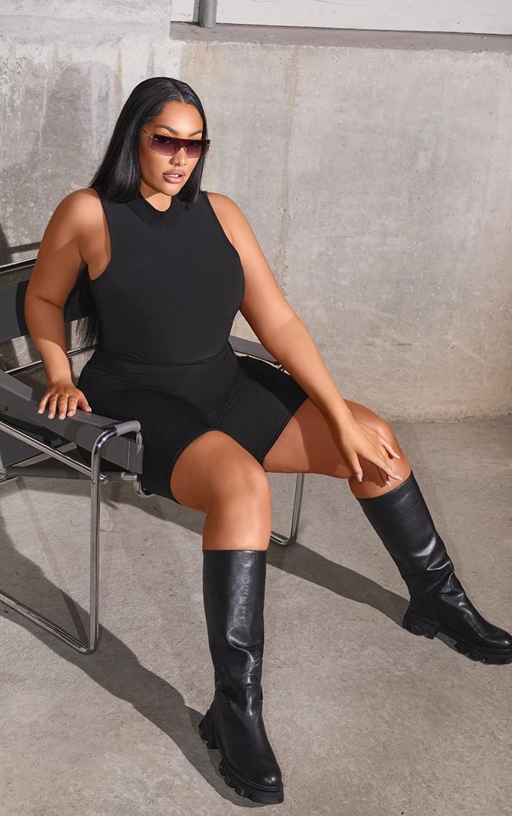 Plus Black Slinky High Neck Sleeveless Bodysuit 4