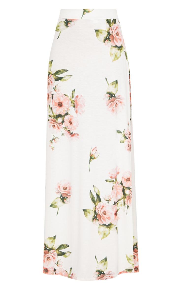 Jupe longue blanche imprimé floral 3