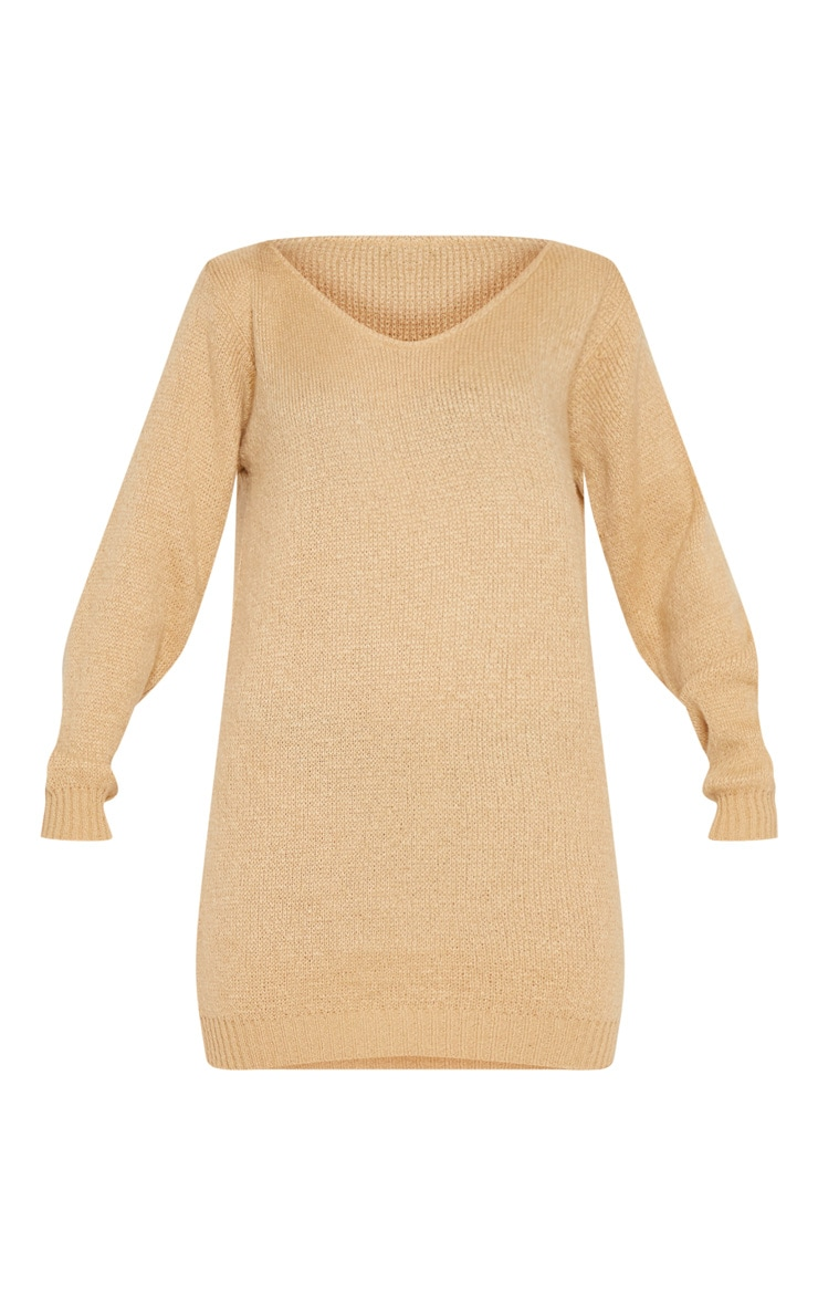 Stone Soft Knitted Off the Shoulder Mini Dress 3