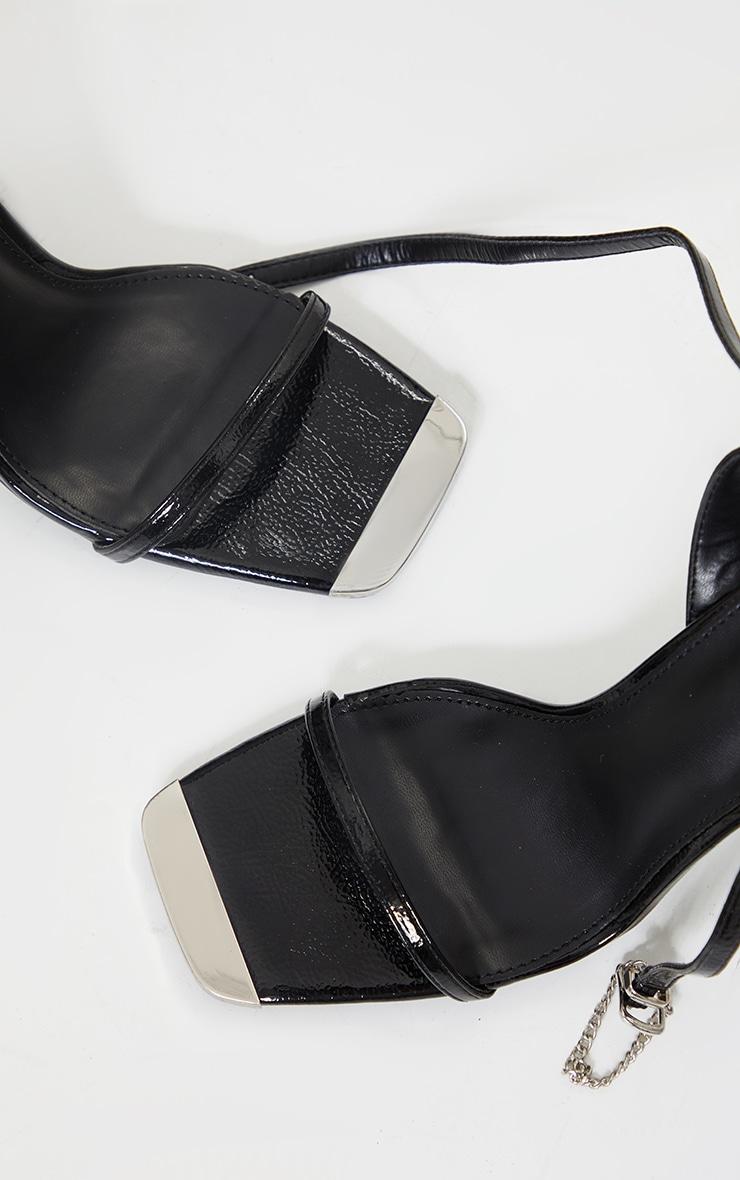 Black Square Toe High Heel Chain Trim Sandals 3