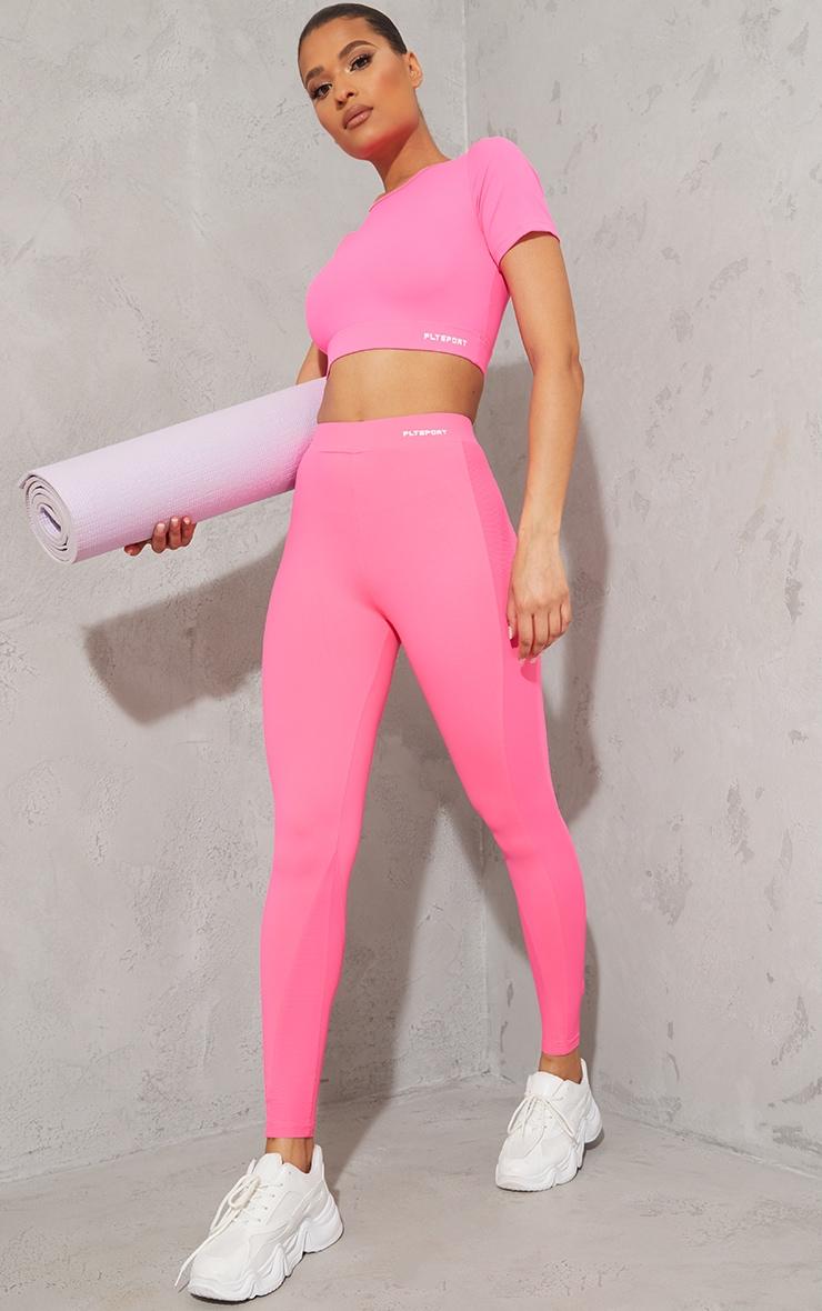Hot Pink Sculpt Luxe High Waist Mesh Side Gym Leggings 1